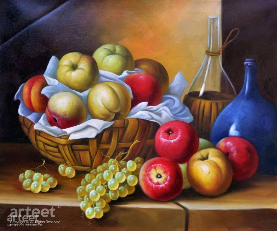 Fruit still life painting for home interior decoration for Apples decoration for home