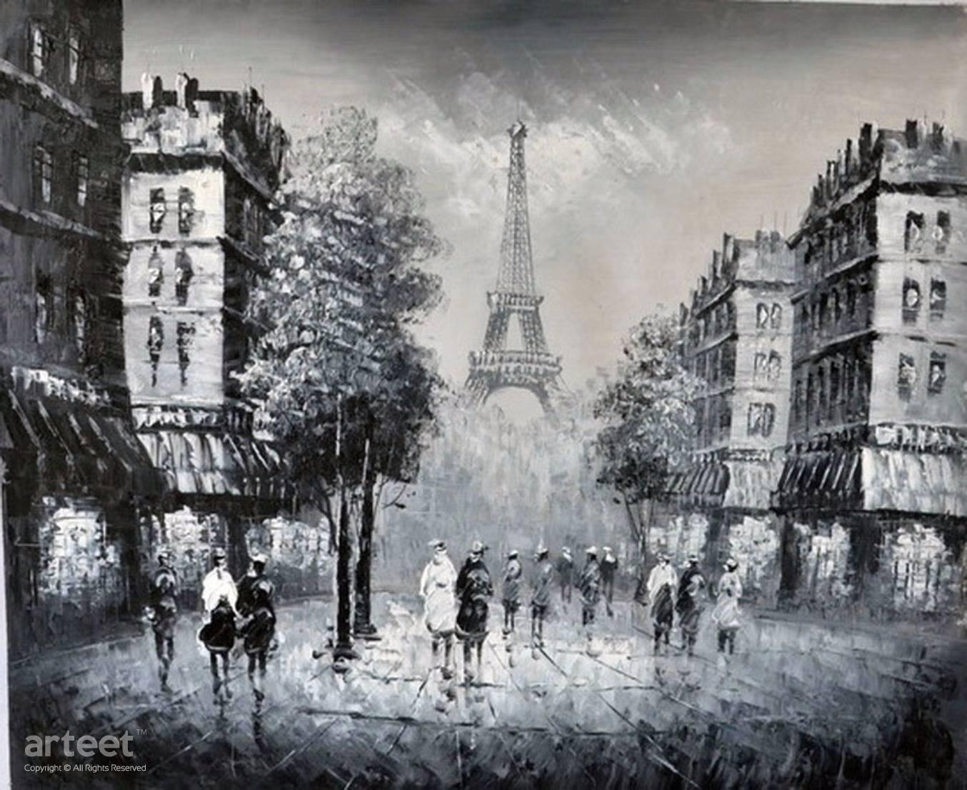 Black and white paris street scene art paintings for sale