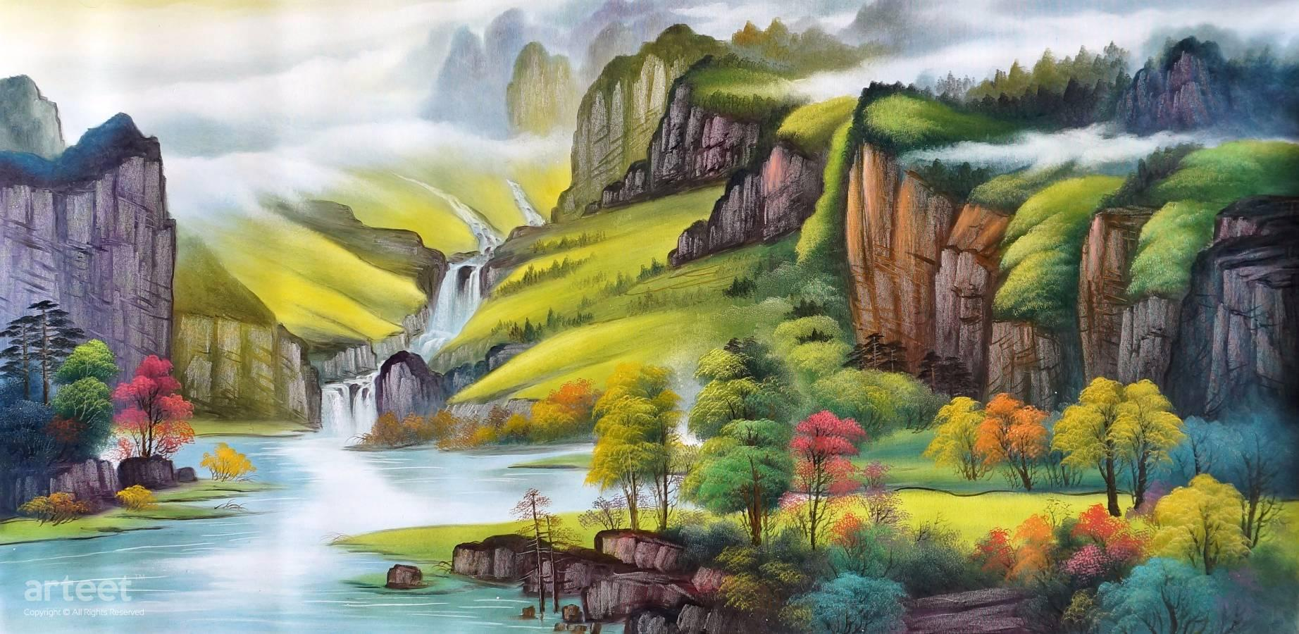 Eternal Spring Amid Myriad Of Mountains Art Paintings