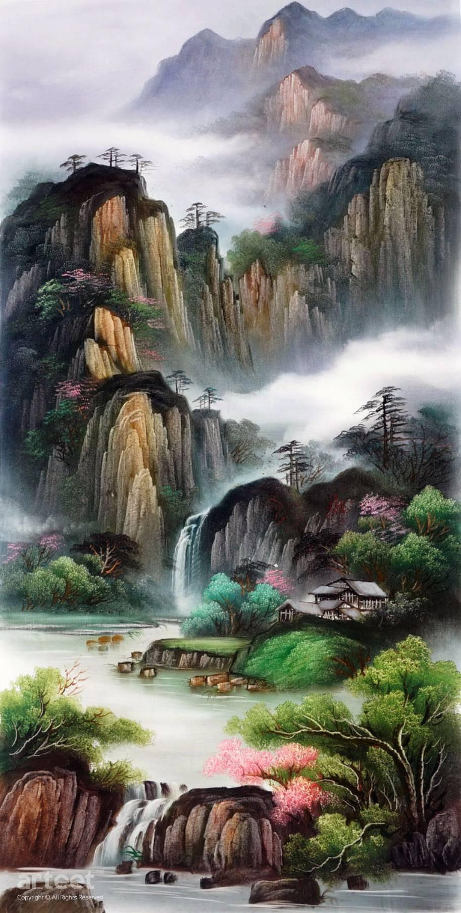 e74787d3c Mountains in Sichuan Surrounded by Mist   Art Paintings for Sale ...