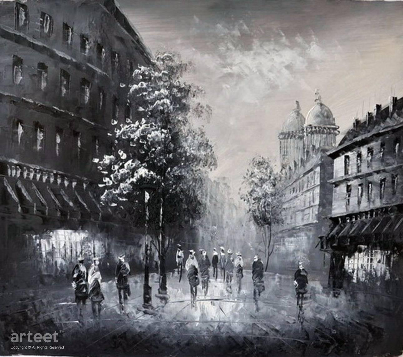 Prague black and white art paintings for sale