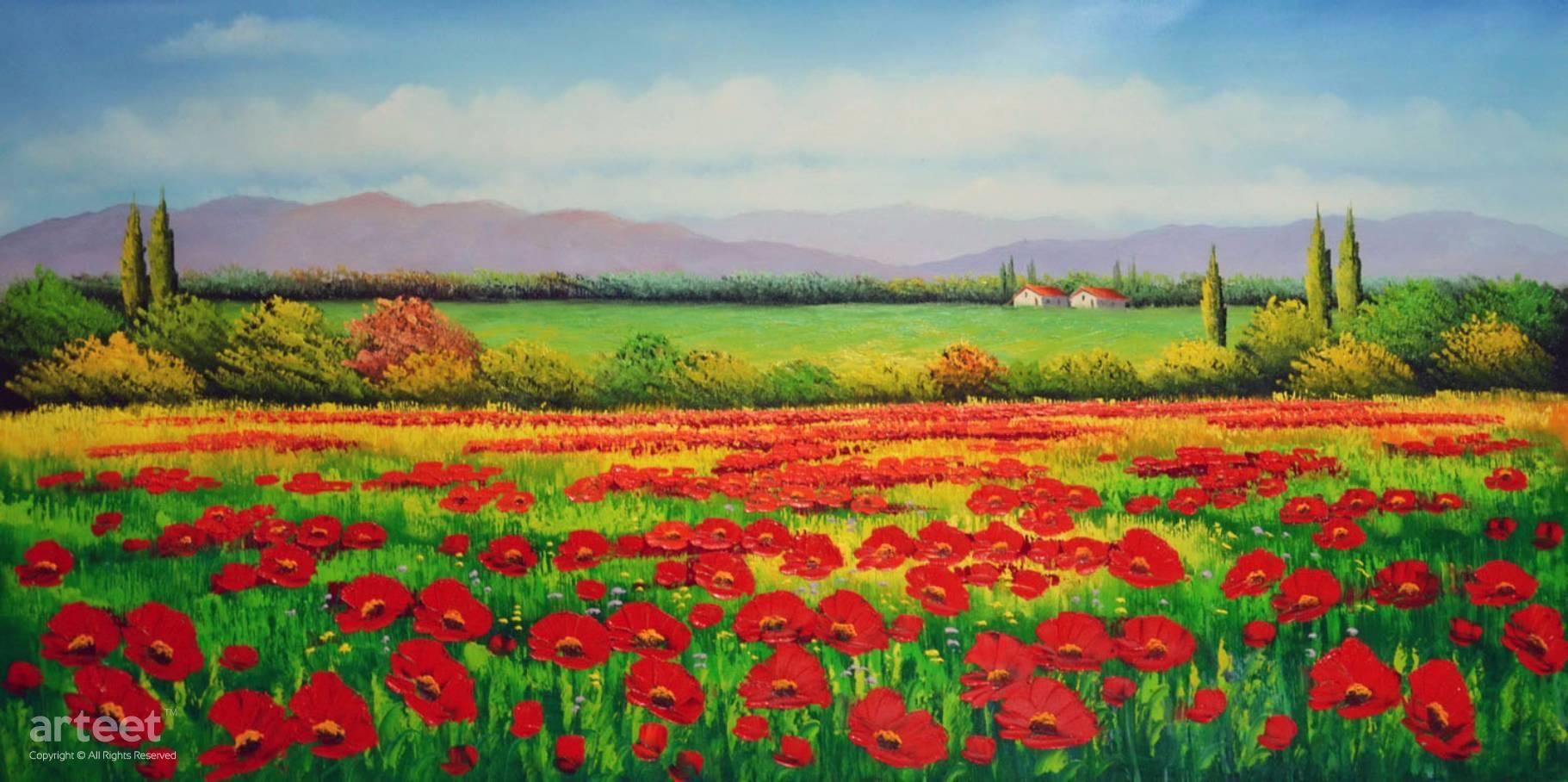 Red Poppies Flower Field Art Paintings For Sale Online Gallery