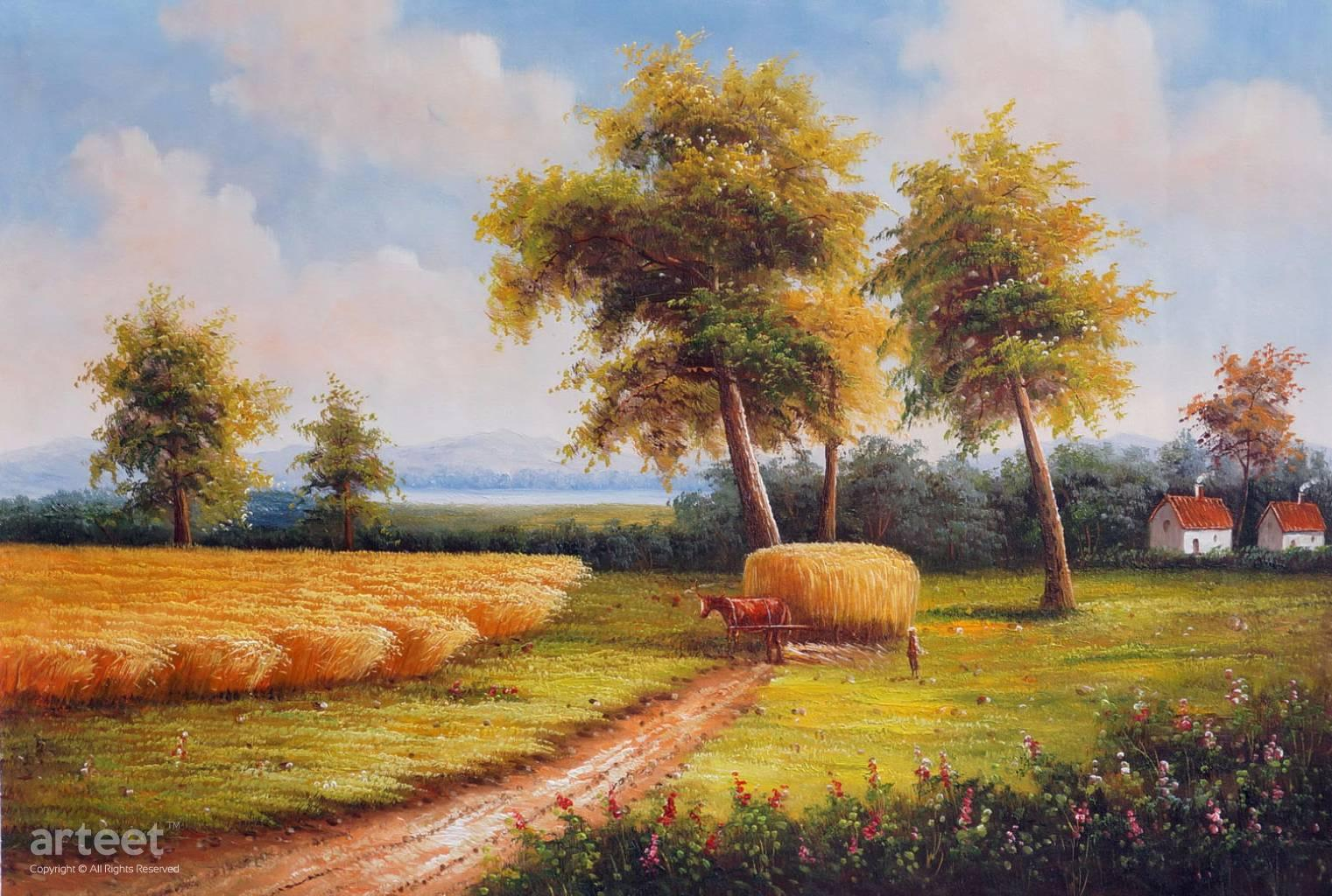 Image result for hay wagon painting
