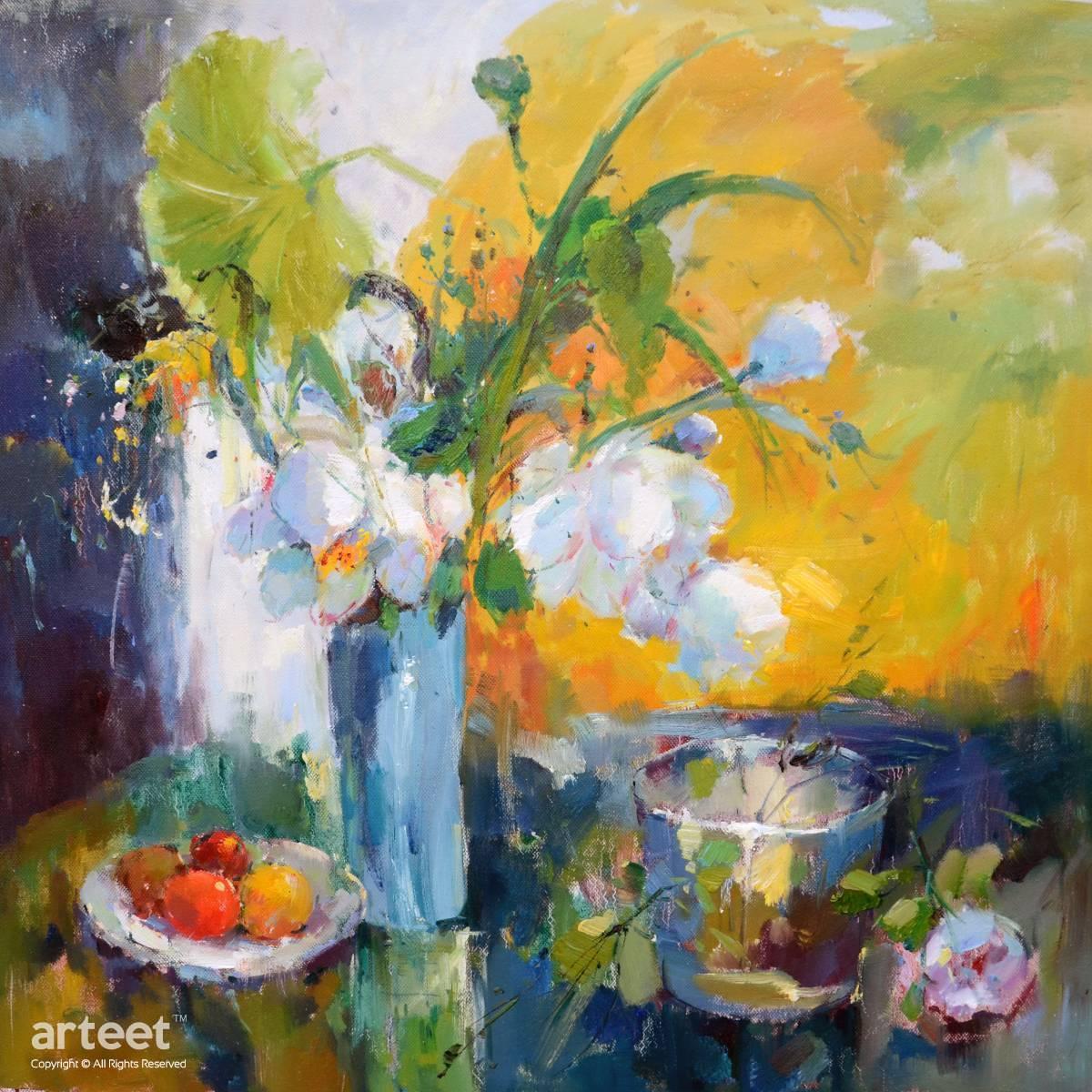 Still Life Flower & Objects Oil Paintings On Canvas - Arteet Gallery